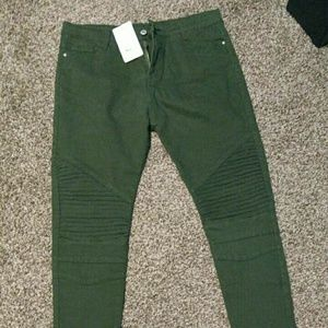 Green Moto Jeans s Large, about a size 8 to 10